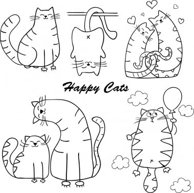 Funny cartoon cats silhouette for your design