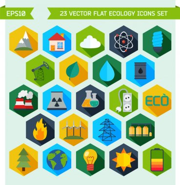 Flat ecology and energy vector icons