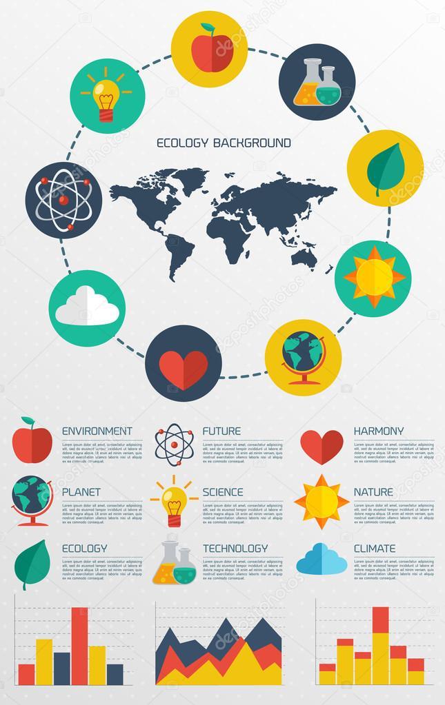 Flat ecology infographic background