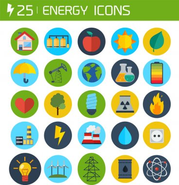 Flat energy vector icons