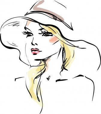 The young woman in a hat stock vector