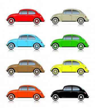 set of colorful compact cars