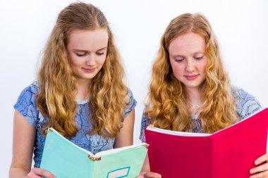 Two schoolgirls reading books