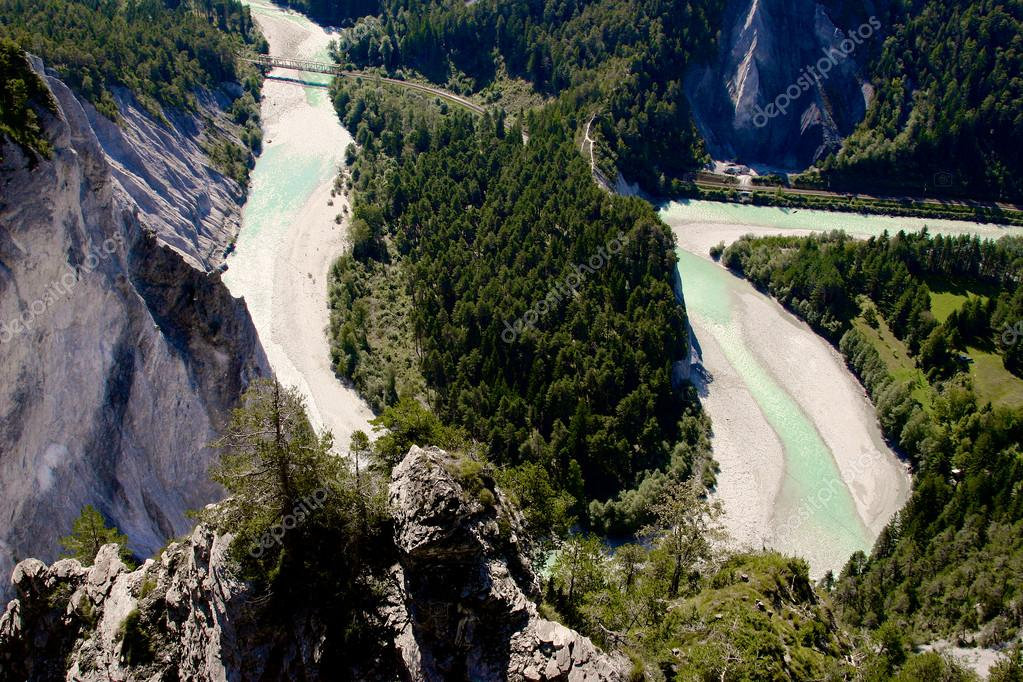 Rhine River Gorge In Swiss Alps Switzerland River Winding Under - Swiss river to the rhine
