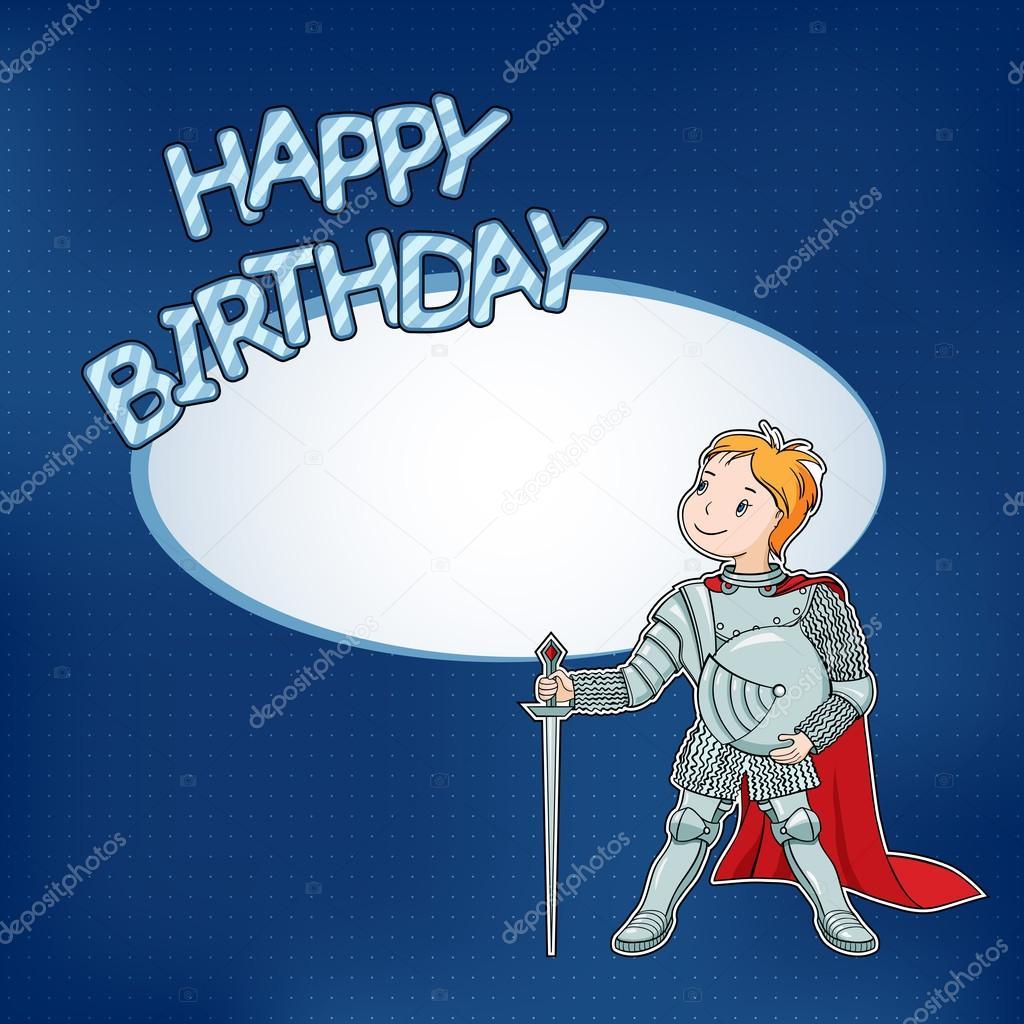 Geburtstagskarte mit der kleine Ritter — Stockvektor © krystykat