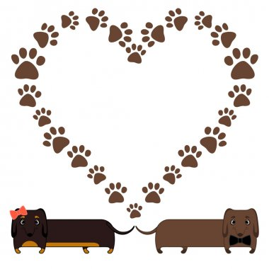 Dachshunds and heart of paw prints