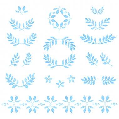 Set of watercolor leaves, badges, floral elements, wreaths and laurels.