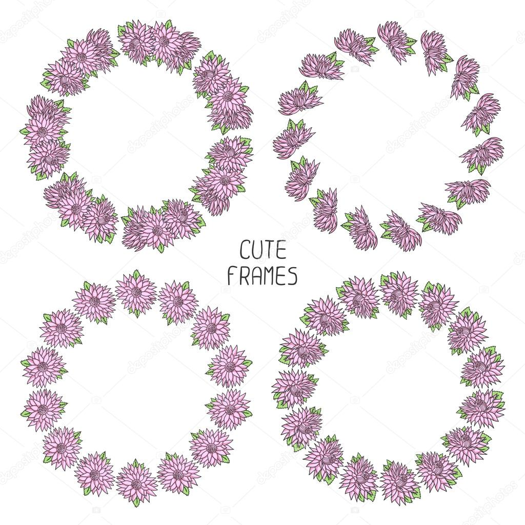 Vector beautiful floral frame. Illustration. Background. Cute wreath made of hand drawn  flowers. Vintage invitations. Endless texture can be used for printing onto fabric and paper or scrap booking.