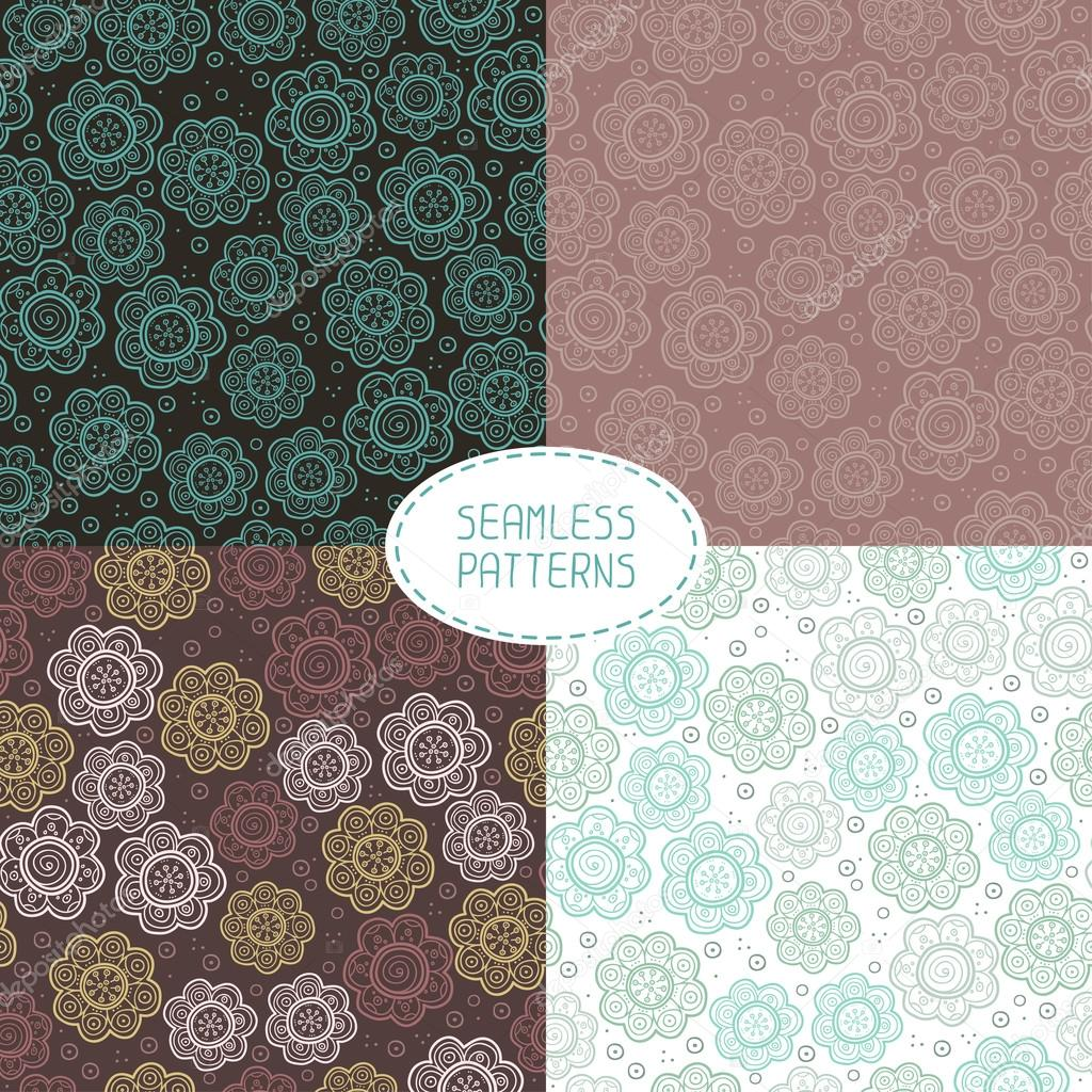 Set of seamless floral patterns. Vector illustration. Beautiful background. Endless texture can be used for printing onto fabric and paper or scrap booking.