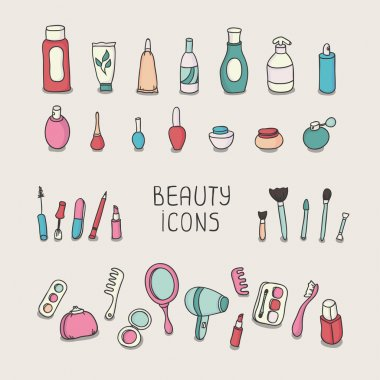 Set of vintage cosmetics elements and beauty products icons. Makeup. Beautiful vector illustration.