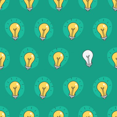 Hand drawn seamless pattern of light bulbs. Idea symbol. Vector illustration. Lamp background in sketch style.