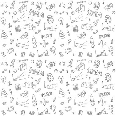 Seamless pattern of  business and finance hand drawn infographic design elements. Doodle vector set.