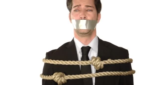 A tied up and gagged businessman