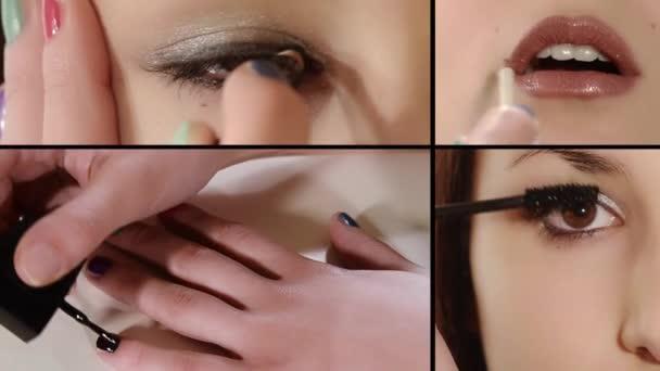 dívka tvoří fotomontáž