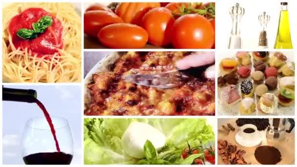 italské potraviny, koláž