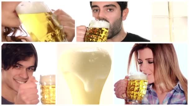 lidé pít pivo, koláž