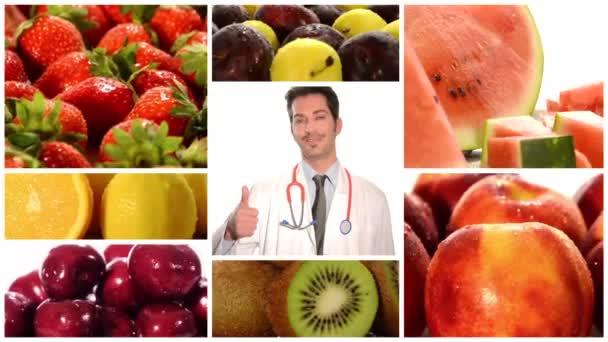 gyümölcs a jobb egészség. orvos és a beteg feladja hüvelykujját közepén kollázs