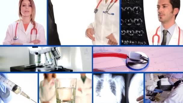 Ärzte-Collage auf blau