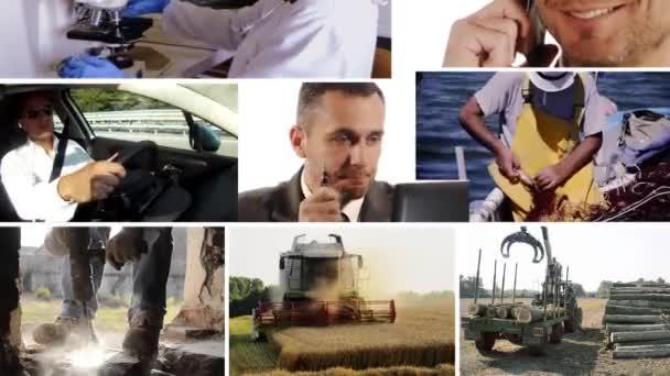 muži v práci, koláž
