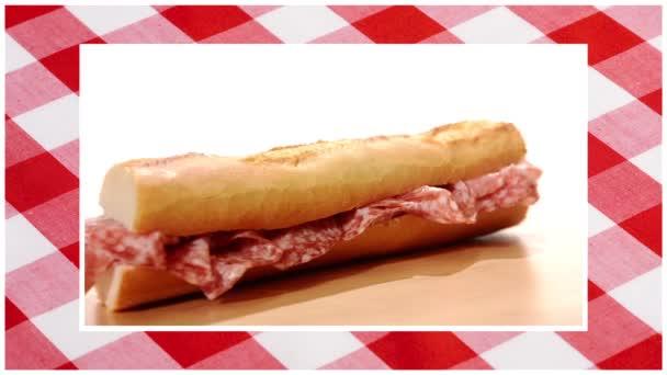 sendviče upravit sekvenci červený ubrus pozadí