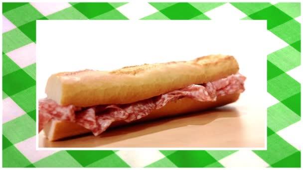 sendviče upravit sekvenci ubrus zelené pozadí
