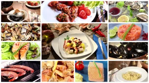 Seafood dishes collage