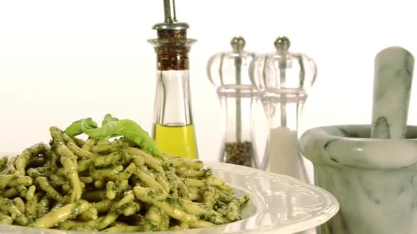 Italian food, pasta and pesto
