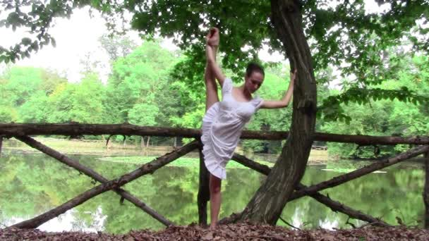Beautiful ballerina doing exercises in a park
