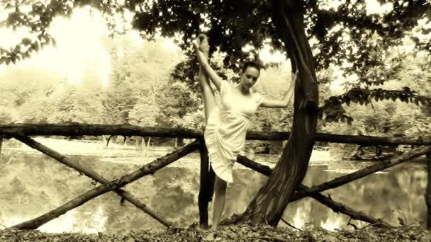 Vintage ballerina, old film effect