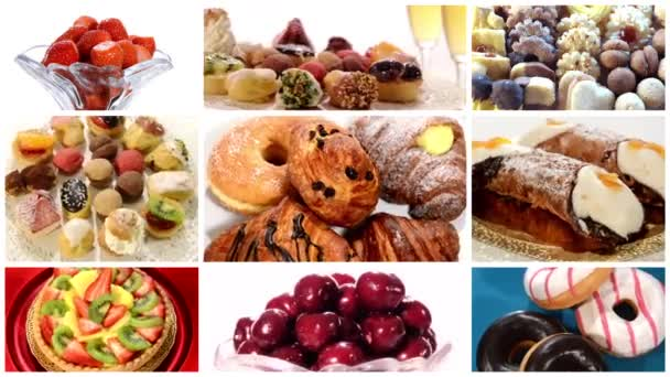Diverse desserts and pastries collage