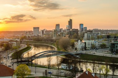 Lithuania. Beautiful golden Vilnius in the evening of the spring
