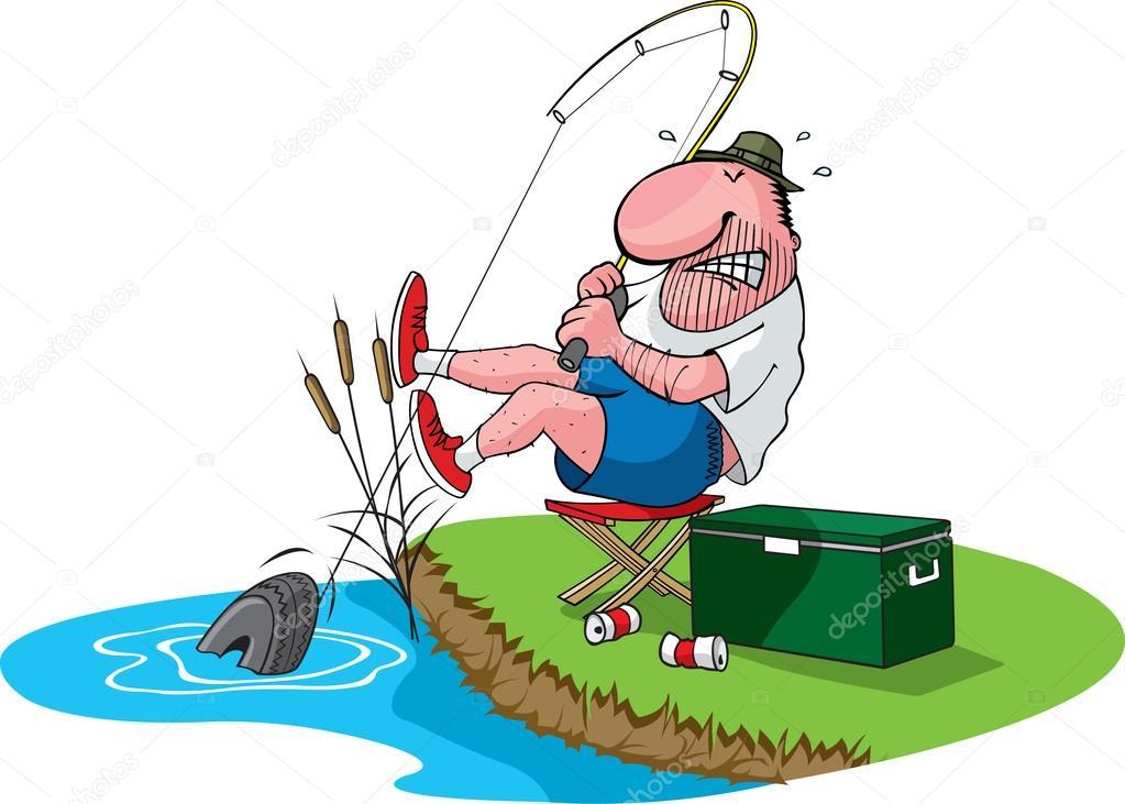 Fisherman Catches A Tire Stock Vector C Toonerman 31896315