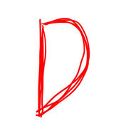 red letter D isolated on white