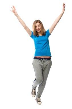 Dancing happy young woman