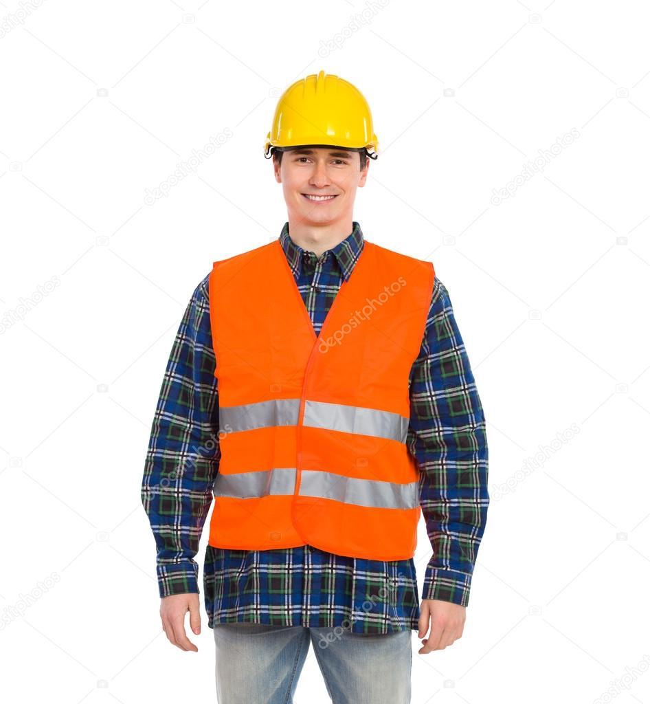 trabajador de la construcción sonriente esperando — Foto de stock ...
