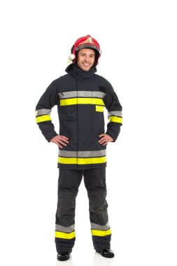 Cheerful fireman posing.