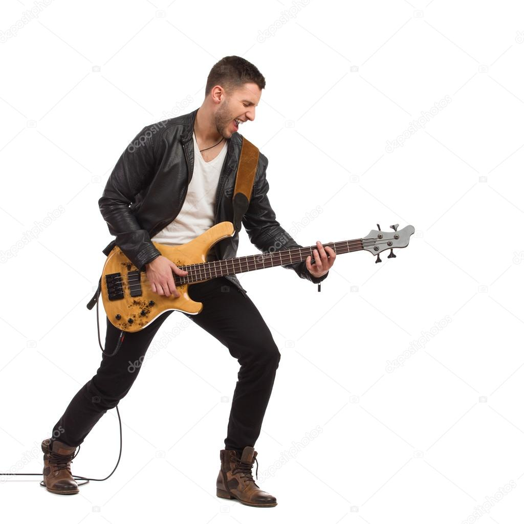 Male guitarist with bass guitar.