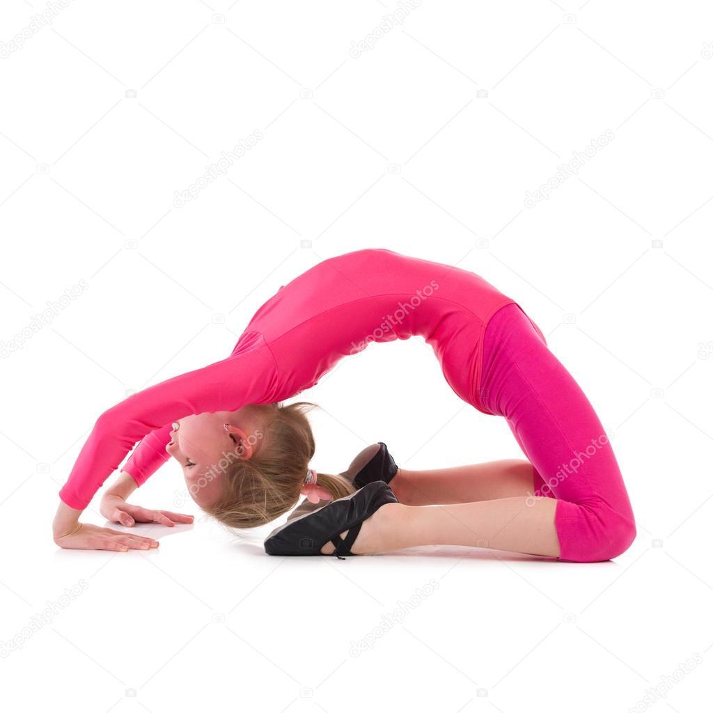 Little Gymnastics Girl Stretching Stock Photo