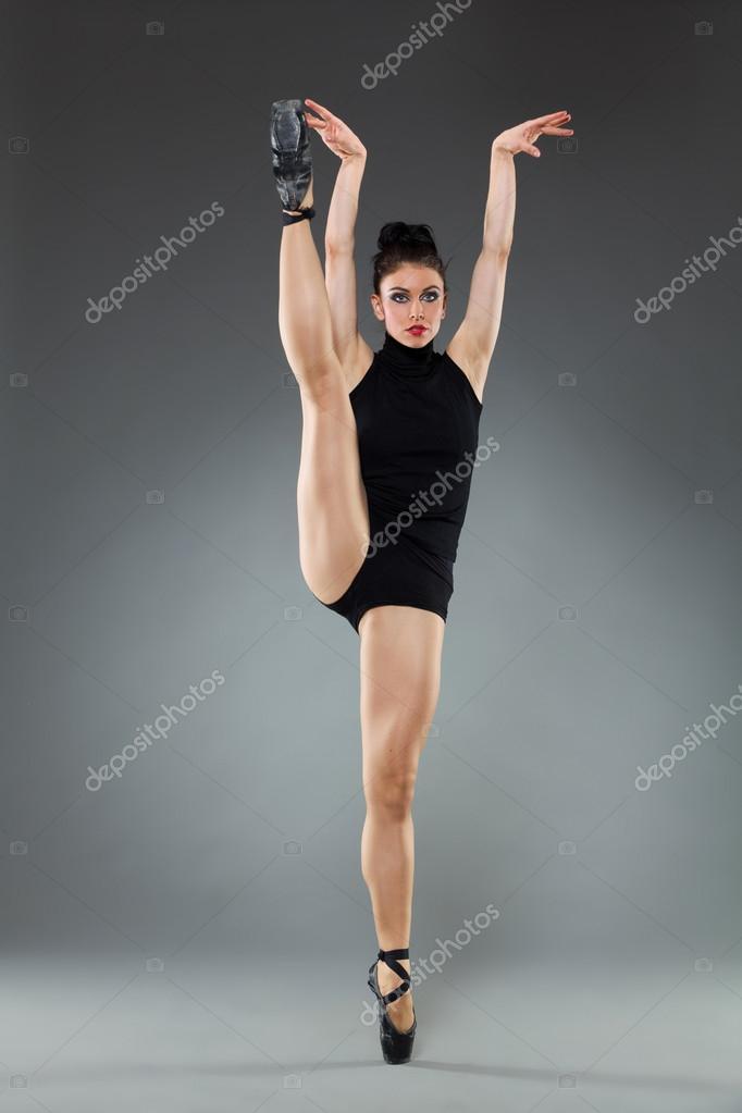 Ballet dancer in black pointe shoes