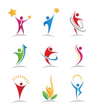Community social people reaching star logos and icons illustration