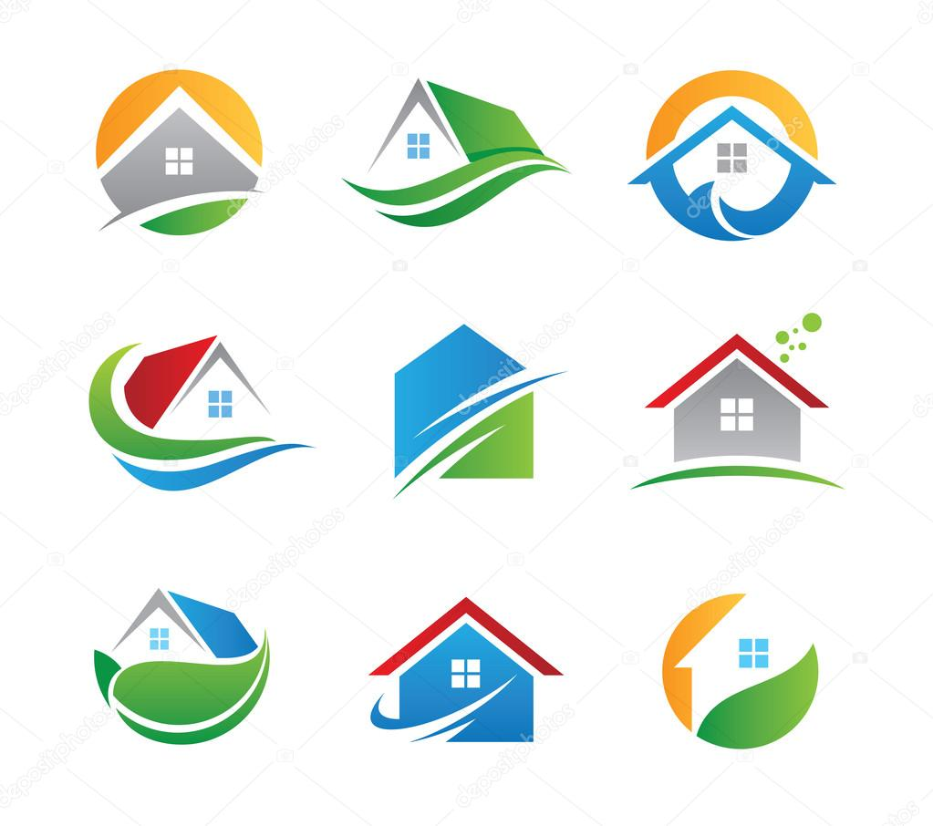 Green eco house in nature logo and icon illustration template