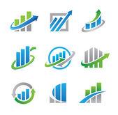obchodní akcií a nemovitostí ekonomiky loga a ikony šablona