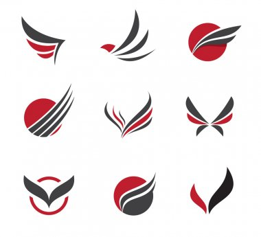 Black Vector set of wing symbols for travel agency and little paradise holiday
