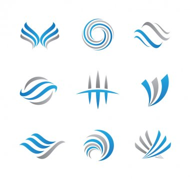 Abstract logo template set of business economy finance and travel agency