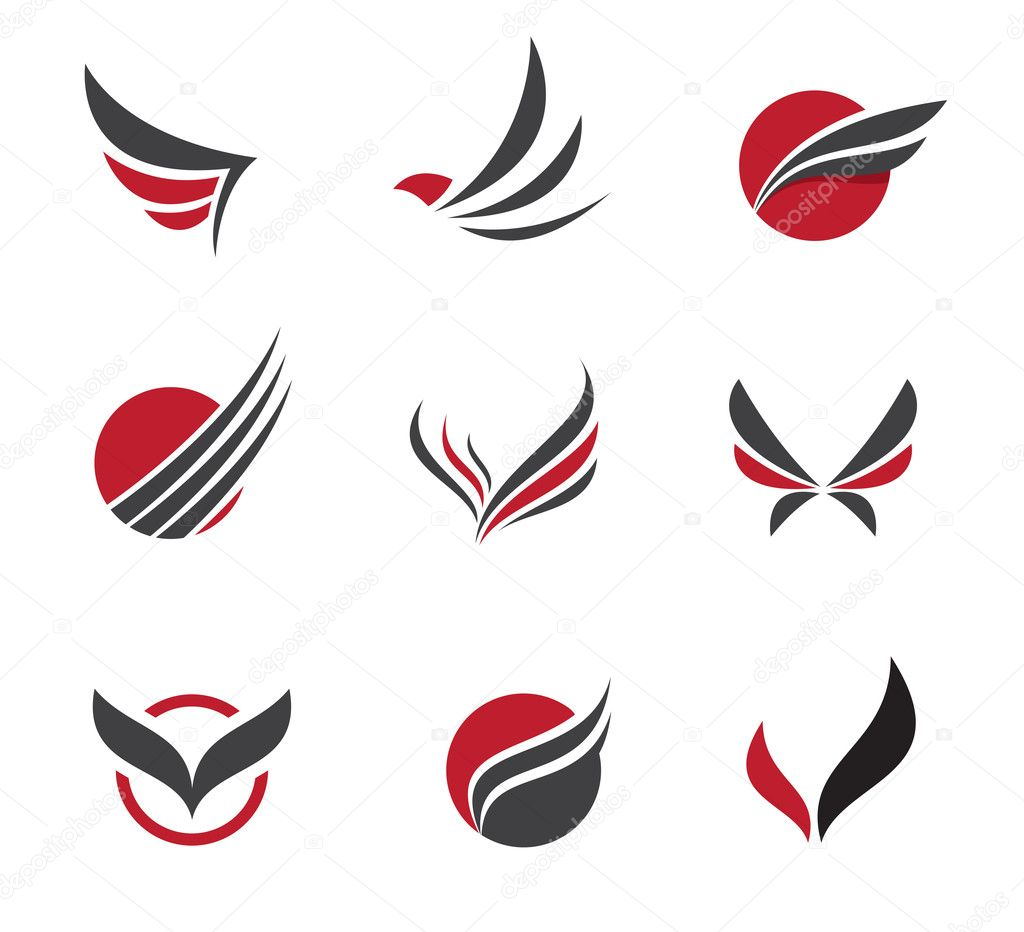Black vector set of wing symbols for travel agency and little excellent for travel agency and company in that business of promoting and organization of holiday travels it is very usable in human communications buycottarizona
