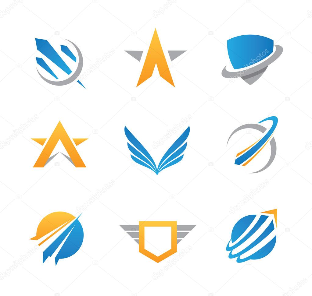 Action force travel community, perfect military spaceship logotype set and icon