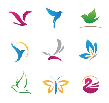 Flying bird beauty, colorful and classy logo set