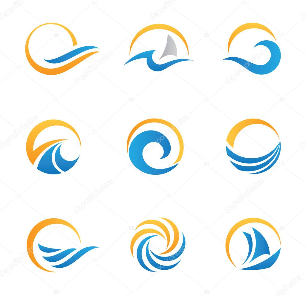 Sun and Sea Royal travel experience logo template