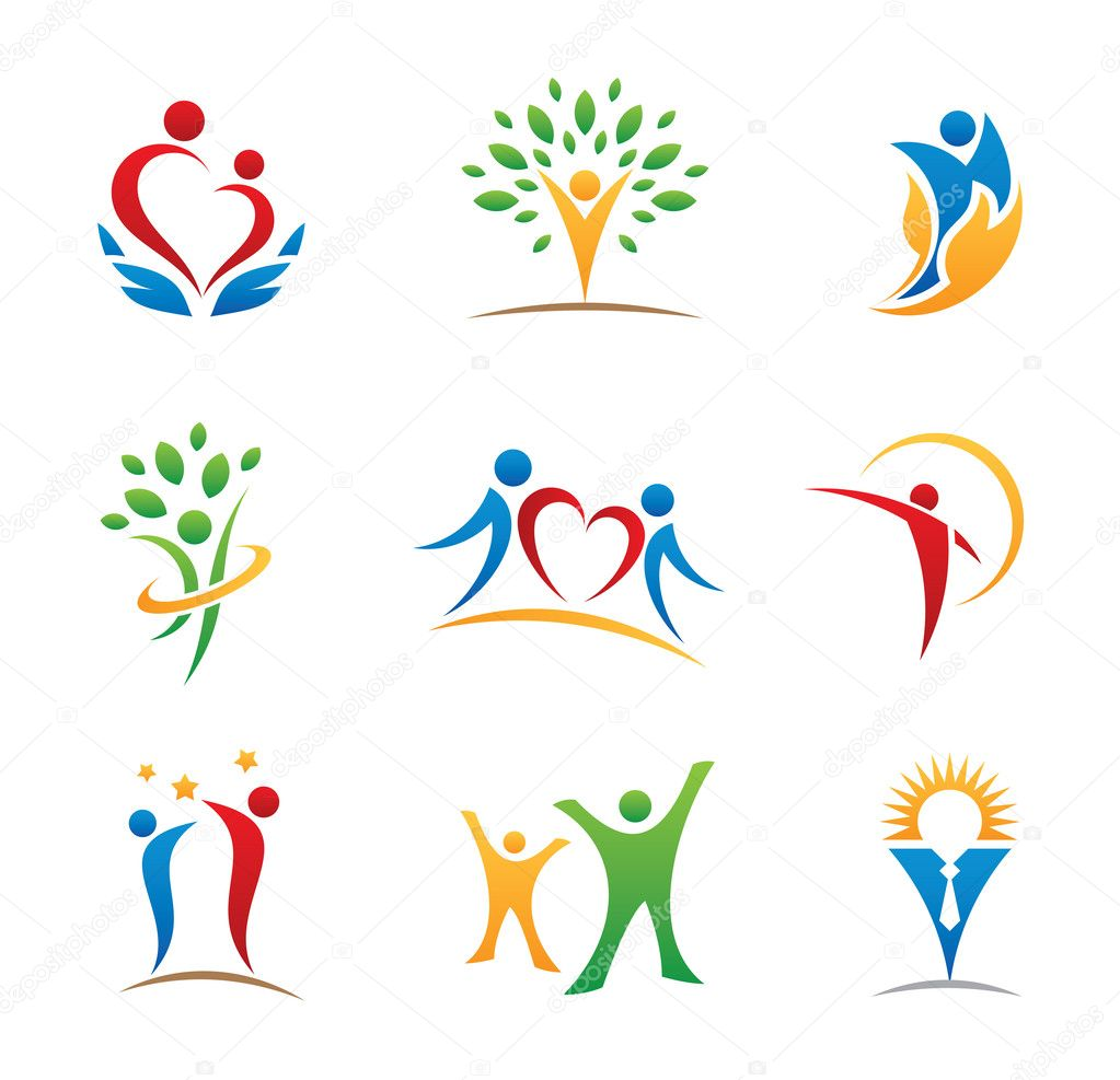 Happy colorful people in free healthy earth social community wonderful logo template that symbolizes people with all their good qualities this logo represents social bound between humans throughout partnership biocorpaavc Choice Image