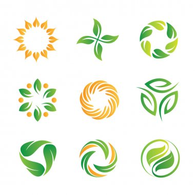 Green nature loop logo and icon set for web programming and royal decoration..Sky is the limit